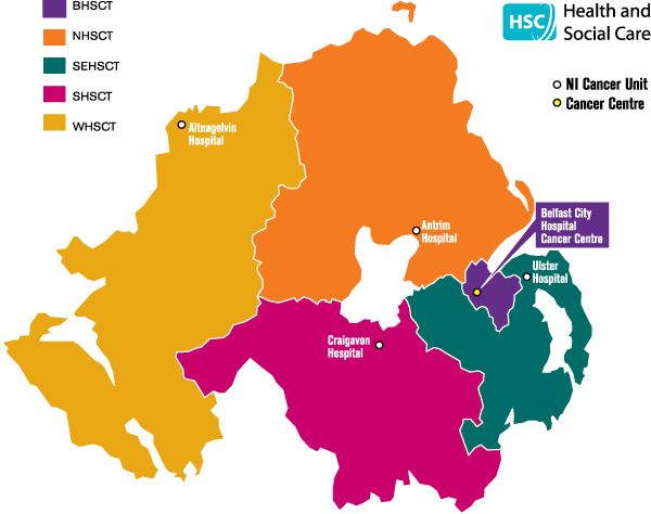 Map showing the trust areas with the hospitals providing cancer units/centres.