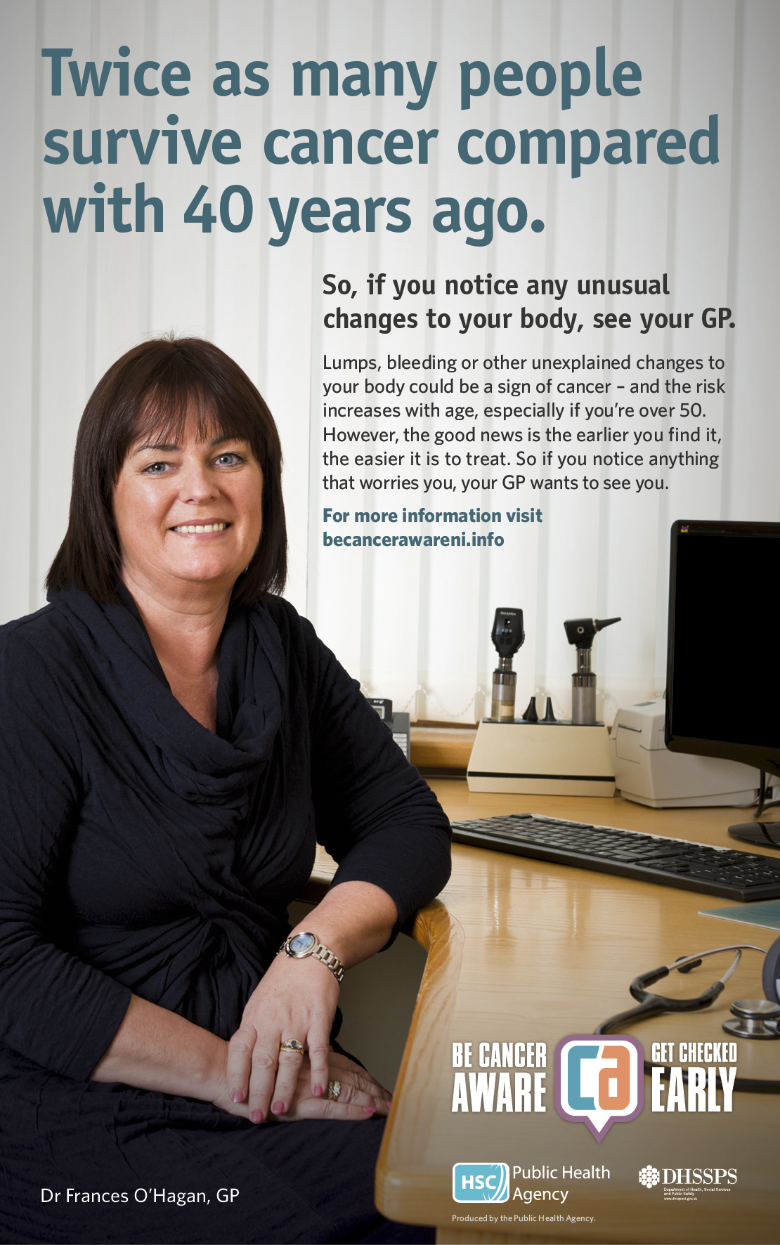 Be Cancer Aware poster featuring Dr Frances O'Hagan, GP