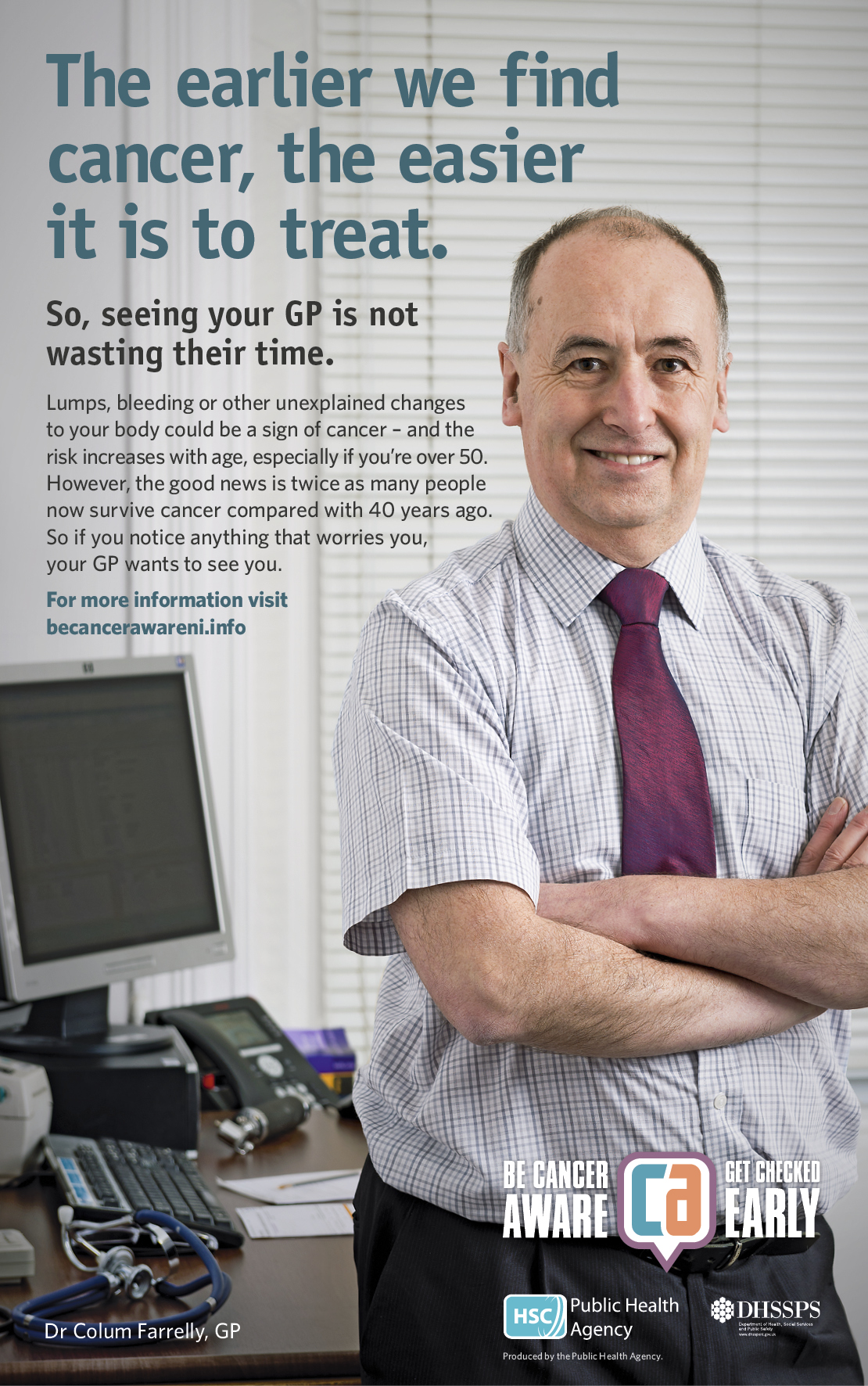 Be Cancer Aware poster featuring Dr Colum Farrelly, GP