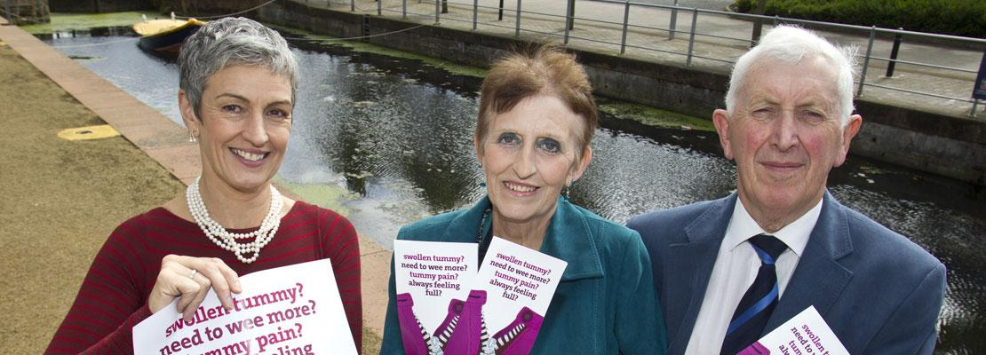 Photo of launch of cancer awareness leaflet featuring Una Crudden